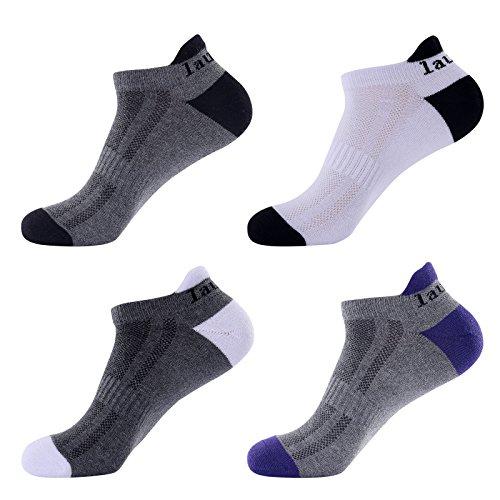 Laulax 4pares para hombre calcetines de Running Coolmax profesional, protección tendón de Aquiles, Talla UK 7–11/Europa 41–46, Gris