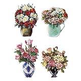 Wachsornamente zur Kerzengestaltung | Kerzenkunst | Blumenvasen | farbig & geprägt | jeweils ca. 4 bis 6 cm | 4 Stück