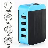 Adaptador Enchufe, Adaptador de Viaje Universal de Viaje Cargador con Cuatro Puertos USB para Más Dispositivos Electrónico Adaptador Multifuncional para US EU UK AU acerca de 150 Países - Milool(Azul)