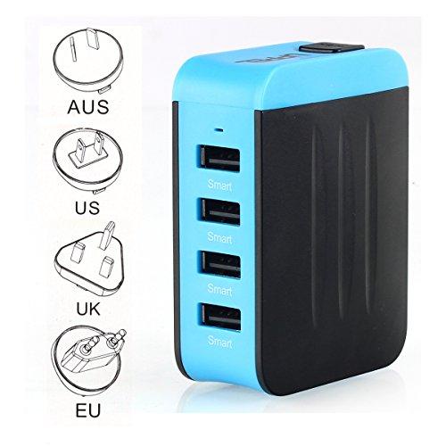 Adaptador Enchufe Universal de Viaje Cargador con Cuatro Puertos USB para Más Dispositivos Electrónico Adaptador Multifuncional para US EU UK AU acerca de 150 Países - Milool(Azul)