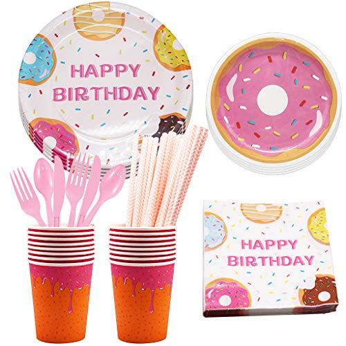 Amycute 141 Pezzi Forniture per Feste di Compleanno per Bambini, Monouso Piatti di Carta, Bicchieri, Tovaglioli, Forchette, Cucchiai, Coltelli e Cannucce per Ragazze Festa di Compleanno a Tema Donut