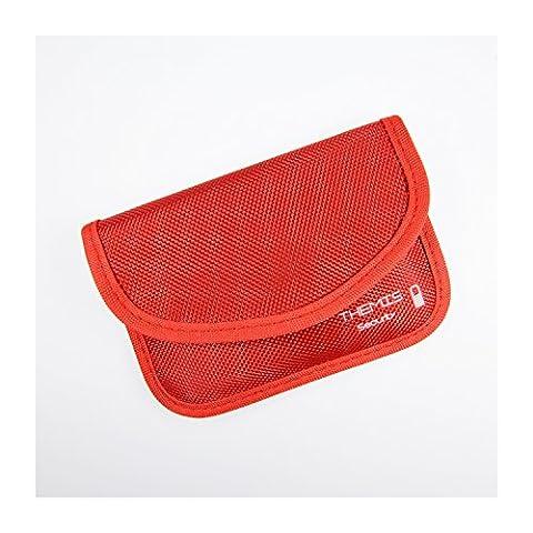 THEMIS Security - Nylon rouge - étui de blindage ( GSM / LTE / NFC / RFID ) pour clé de voiture radio-commandée, système Keyless Go, Keycards, 2 compartiments, 3 couches blindage haute qualité