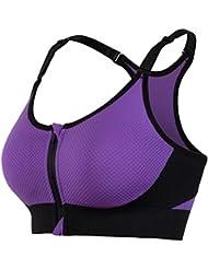 La Sra sin Bordes de los corredores de yoga de fitness interior ajustable del deporte y la prueba de golpes contra expandirse fuera de los Estados Unidos de la ropa interior 5010 , purple , m