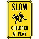 compliancesigns Vertikal Reflektierende Aluminium langsam, Kinder am Schild, 18x 12in. mit englischem Text und Symbol, gelb