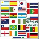 Wandkings Fußball WM Flaggen Wandsticker Set, 62 Aufkleber, 2 DIN A4 Bögen, Gesamtfläche 60 x 20 cm