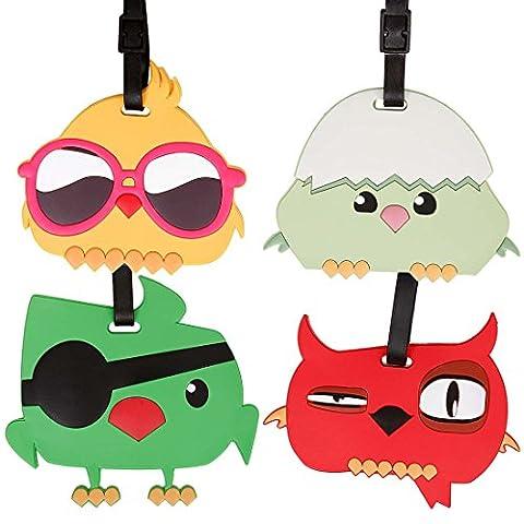 Bundle Monster 4pc Fun Mixed Cartoon Bird Design Silicone Luggage ID Bag Tags - Set 6: Bye Bye