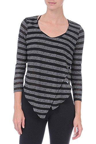 Danskin Damen Top Tanz Ballett NYBC Asymetrical Stripe Sweater Rich Black/Hematite 36 (Schwarz Top Danskin)