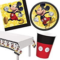 Mickey Mouse Birthday Party Supplies Bundle Mickey Forever Design with Plates Napkins Cups Plastic Table Cover and eBook (ParteePak Basic)