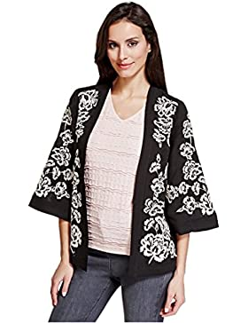 Marcas y Spencer Per Una Floral negro y blanco bordado Kimono estilo chaqueta para mujer (talla X Large