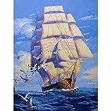 KAYI Voilier sur la mer Peinture à l'huile par numéro de kit - Kits de peinture à l'huile de bricolage pour adultes, juniors, enfants - Artisanat artisanal Peinture Décoration intérieure...