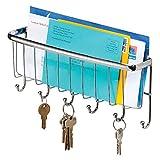 iDesign Axis Schlüsselbrett, Hakenleiste aus Metall mit sechs Haken und Briefablage, silberfarben