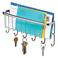 Perfect for keeping keys and mail organized;Features 6 hooks;Wall mounting hardware included;Made of durable steel;10.5 x 2.5 x 4.5