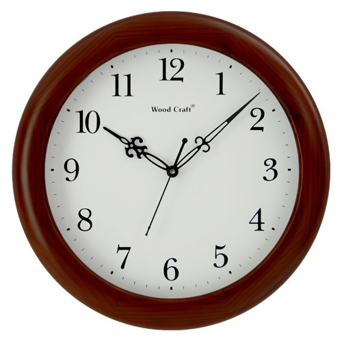 WOOD CRAFT w-1002c round wall clock (dark wood case - white dial) size- 31 O c.m.