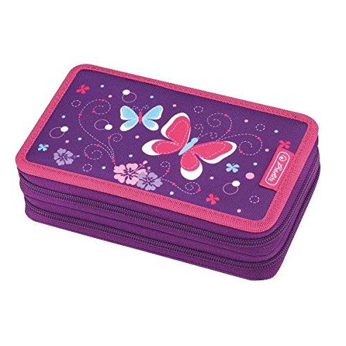 23teiliges Doppeletui, 2 Klappen mit farbigem Innenfutter, Polyester, 19,3 x 11,5 x 4,5 cm, 23 Teile, 2 Klappen,, farbiges Innenfutter, , 1 Motiv, , Doppeletui 23 tlg. Purple Butterfly, - Aus Klappe