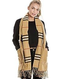 Women's Camel Tartan Blanket Wrap Pocket Scarf Shawl