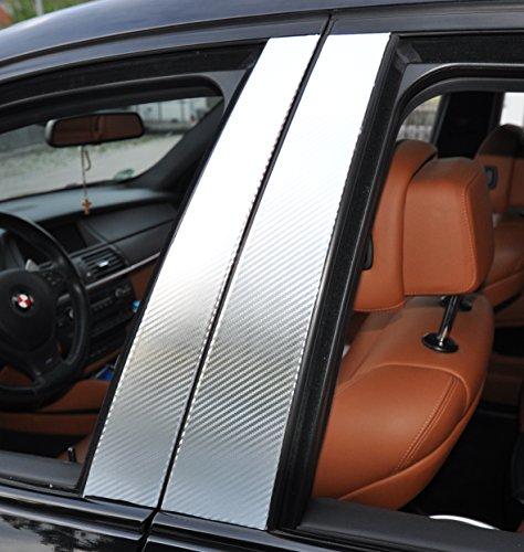 Preisvergleich Produktbild 6x Carbon chrom Türzierleisten Verkleidung B Säule Türsäule passend für Ihr Fahrzeug