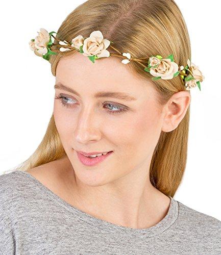 SIX Floraler Haarschmuck: Filigraner Blumenkranz mit Ranken und zarten Textil-Rosen, natürlicher Look, ideal zum Dirndl, Hochzeit, Blumenmäd (456-269)