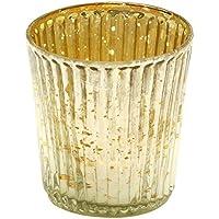 Thanksgiving decorazioni–Portacandele in vetro a coste, realizzata a mano, 6,6cm–argento e oro tono rotondo Centrotavola Tealight portacandele votive–Tavolo Essentials–Home/decorazione decorazioni