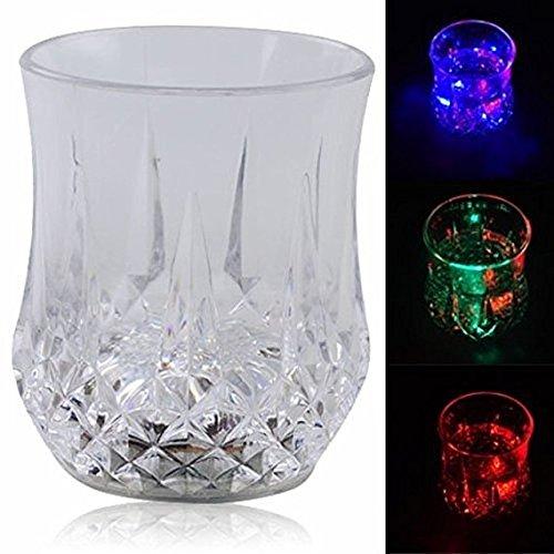 Q Bar Gläser mit Wasseraktivierung, bunt, blinkende LED-Lichter, für Induktionsherde, leuchtende Becher, Bier, Wein, Whisky, Drinkware 2 (Blinkende Wein Glas)