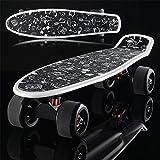 YASHANG Flash-Scrub-Big-Wheel-Skateboard, Mode-Coole Fischplatte, Brush-Street-Allrad-Roller, Bananenbrett (Stil Vier)