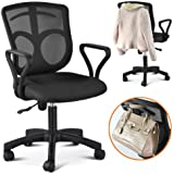 Popamazing Swivel Computer Office Desk Chair With Arms Color Fabric Seating Mesh Back + Stand bars on the back (Black)