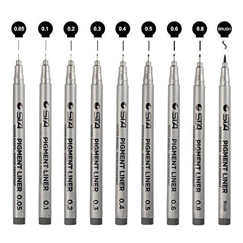 Greestore Micro-Fineliner, Pigment-Zeichenstifte für Kunst, technisches Zeichnen, Schreiben, Manga Scrapbooking, Kalligraphie, auslaufsicher, wasserfest, Schwarz, in 9 verschiedenen Stärken