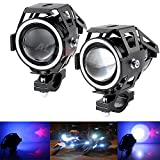 #3: Allextreme U7 Led Bike Driving Drl Fog Light Spotlight, High/Low Beam, Flashing-With Blue Angel Eyes Light Ring (Pack Of 2)