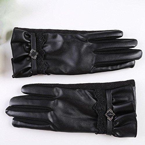 Simple gants mode tactile peluche chaud est pas inversé + PU dames de dentelle d'arc à cheval gants