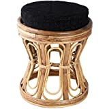 Aashi Enterprise Hand Carved Charming Wood Cusioned Stool, Brown