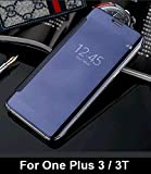 For One Plus 3 / 3T 'MOBISTYLE' New Luxury Smart Semi Clear View Mirror Flip Cover For One Plus 3 / 3T (Blue)