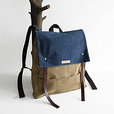 Mochila de lona de cuero color de contraste hombres y simple bolsa Mochila porta ordenador de viaje de placer mujer retro,azul y