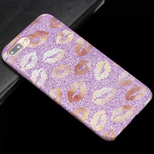Ouneed® Für iPhone 8 plus 5.5 Zoll Hülle , Luxury bling bling Lippen TPU Silikon Schutz Handy Hülle Case Tasche Silikon Crystal Case Schutzhülle For iPhone 8 plus 5.5 Zoll (Schwarz) Lila