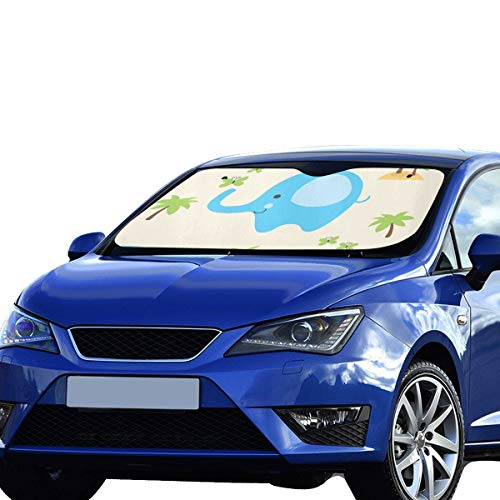 Visor de la ventanilla Lado Coche Azul Elefante Nariz Larga Visera Solar Ajuste Universal Mantener vehículo vehículo Reflector de Calor Fresco Sedanes Camión Todoterreno 55'x30 Parasol Parabrisas