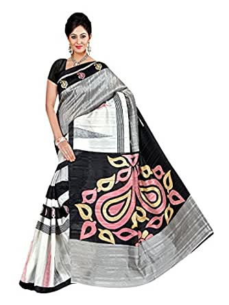 Winza Designer Cotton Saree with Blouse Piece (1133+Black_Free Size)