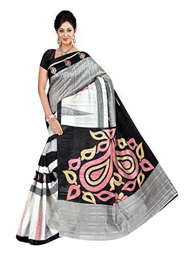 Winza Designer Women's Bhagalpuri cotton Saree with Blouse (Black)
