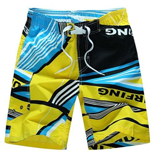 Men's Casual Geometric Beach Shorts yellow