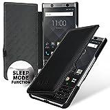 keledes Book Type Hülle Leder-Tasche für BlackBerry Keyone, Lederhülle Flip-Case Handyhülle aus Echtleder für Das BlackBerry Keyone   Smart-Cover on-/Off-Funktion, Nappa Schwarz mit Clip