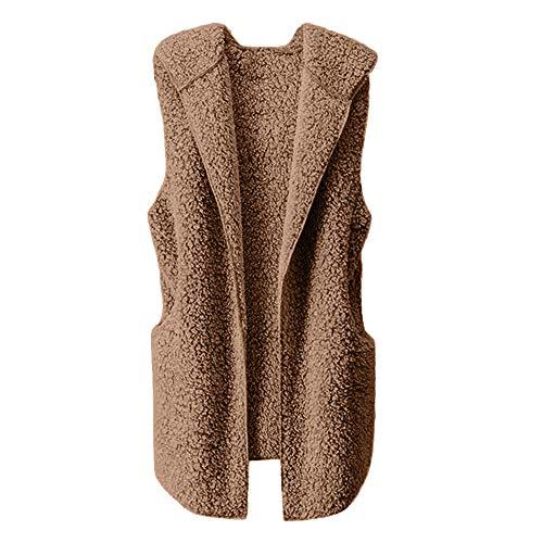 ESAILQ Damen Weste Winter Warm Hoodie Outwear Faux Reißverschluss Sherpa Jacke(L,Gelb)