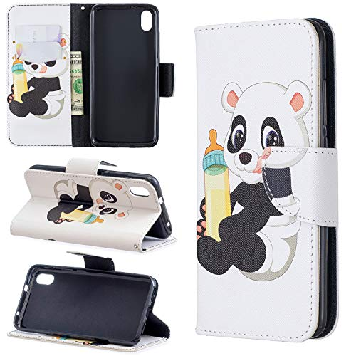 ZCXG Schutzhülle für Xiaomi Redmi 7a, mit Magnetverschluss Xiaomi Redmi 7a Bébé panda -