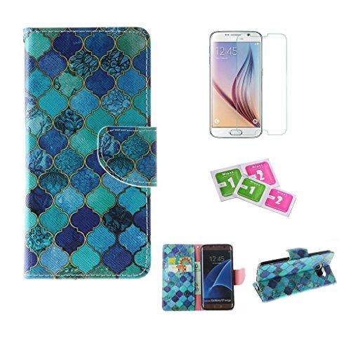 JGNTJLS Custodia a libro, per iPhone 6/6S da 11,9 cm (4,7), con salvaschermo in vetro temperato, in similpelle PU di alta qualità, con scomparti per carte di credito, ultra sottile, funzione cavallet Pink,Blue Prismatic
