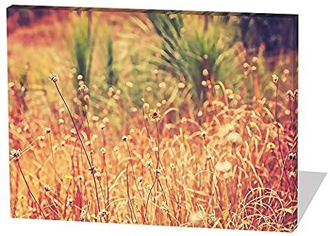 Auf dem Feld, Gemälde Effekt, schönes und hochwertiges Leinwandbild zum Aufhängen in XXL - 120cm x 80cm, echter Holzrahmen, effektiver Pigmentdruck, modernes Design für Ihr Büro oder (Feld 48 Tor)