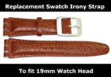 Replacement Light Brown Leather SWATCH Watch Strap 19mm