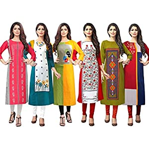 1 Stop Fashion Women's Crepe Regular Kurta (Gold Combo_Multicolored_)