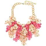 Bijoux de mode Filles Rose Floral Perlé Chunky Chaîne Déclaration Collier Pour Femmes