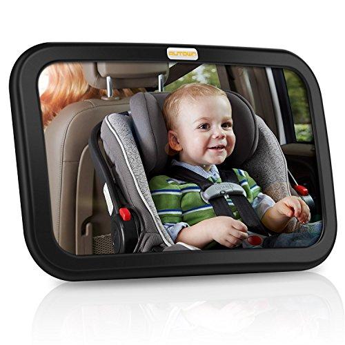 AUTOWN Rücksitzspiegel für Babys, Auto Babyspiegel für Autositz, Einstellbar Babyschalenspiegel Sicherheitsspiegel Babyspiegel für Babyschalen, 360° schwenkbar, Größe 300 x 190 x2,8mm