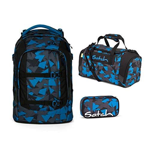 Satch Schulrucksack-Set 3-TLG Pack Blue Triangle Blau - 3 Schulranzen