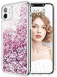 wlooo Cover per iPhone 11, iPhone 11 Cover, Cover iPhone 11, Glitter Bling Liquido Custodia Sparkly Ragazze Donne Luccichio TPU Silicone Protettivo Morbido Brillantini Quicksand Case (Oro Rosa)