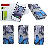 Apple iPhone 5 / 5G / 5S Blue Butterfly Print Premium Leather Book Magnetic Flip Wallet 2 in 1 Case Cover Pouch With Detachable Internal Hard Case Plus Screen Protector & Screen Polishing Cloth NWNK13 (TM)