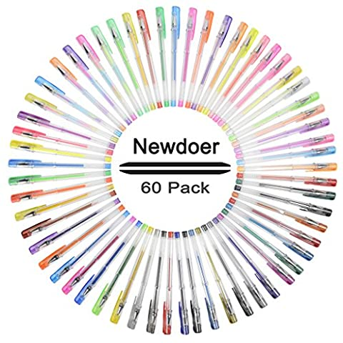 Newdoer 60 Pack Gel Pens,Fine Ink Ballpoint Pens, Smooth, Anti Skip,Multi-Colour,the Most Professional Gel Pens Set for Artists, Comics, illustration, interior designer,Student,Art lovers and Adult Colouring,with 0.8mm - 1.0mm Tip