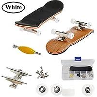 Mini Diapasón, Patineta de Dedos Profesional Maple Wood DIY Assembly Skate Boarding Toy Juegos de Deportes Regalo de Navidad Para Niños (Blanco)